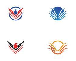 Modello di vettore di logo di uccello e ala