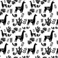 Illustrazione con piante di lama e cactus. Vector seamless su sfondo botanico. Biglietto di auguri con Alpaca. Modello senza soluzione di continuità
