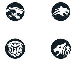 Mascotte di logo della testa della tigre su fondo bianco