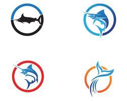 Marlin jump fish logo e simboli icona