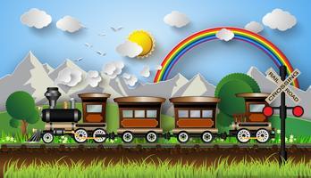 treno su uno sfondo di montagne vettore