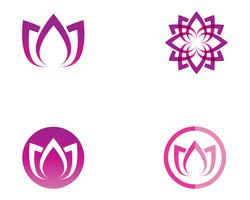 Loto fiore natura logo e simbolo modello vettoriale