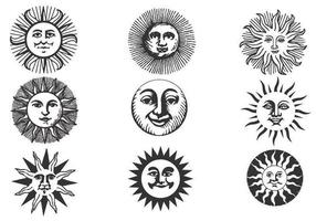 Pacchetto di vettore Sun antico disegnato a mano