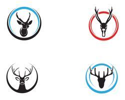 Icone di silhouete nero logo animali testa di cervo vettore