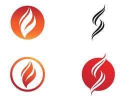 Modello di logo di fiamma fiamma natura e simboli icone