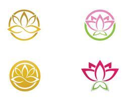 Lotus Flower Sign per Wellness, Spa e Yoga. Vettore