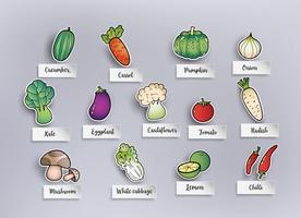 verdure di disegno a mano libera vettore
