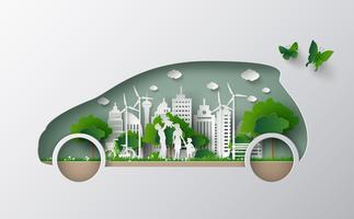 concetto di auto eco vettore