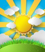 Vector il sole con sfondo di nuvole.