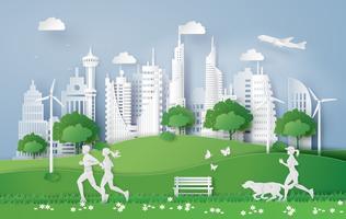 Illustrazione del concetto di eco, città verde nella foglia. vettore