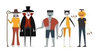 Scena minima per il giorno di Halloween, il 31 ottobre, con mostri che includono dracula, uomo delle zucche, frankenstein, gatto, strega. Illustrazione vettoriale isolato su sfondo bianco.