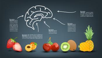 Vitamina valore nutritivo di infografica di frutta. vettore