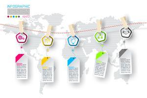 Infographic di affari con 5 punti che appendono su clotheslined. vettore