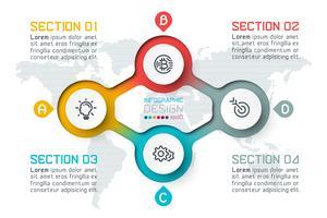 Quattro cerchi con infografica icona aziendale.