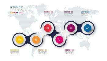 Cerchio collegato con infografica icona affari su sfondo di mappa del mondo. vettore