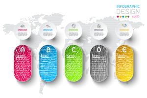 Infografica di affari con 5 passaggi