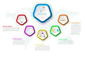 Pentagoni etichetta infografica con 6 passaggi.