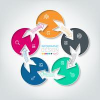 Cinque infographics di cerchio di collegamento. vettore