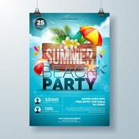 Vector Summer Beach Party Flyer Design con fiore, foglie di Palma e stelle marine su sfondo blu oceano. Illustrazione di vacanza estiva con bordo di legno dell'annata