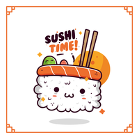 Vettore di sushi kawaii
