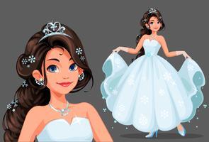 Bella principessa carina tenendo il suo lungo abito bianco