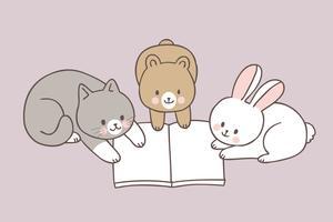 Animali svegli del fumetto che leggono il vettore del libro.