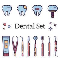 Set di strumenti dentali piatti vettore