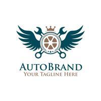 ruota di pneumatico dell'emblema dell'illustrazione di vettore, chiave con il logo delle ali.