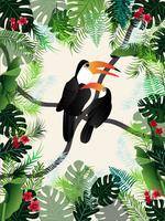 L'immagine tropicale delle foglie di palma della bandiera dell'estate di vettore di uccelli.
