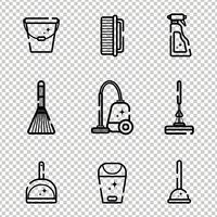 Insieme di vettore delle icone piane per la pulizia degli strumenti