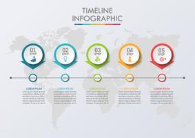 Visualizzazione dei dati aziendali. Icone infographic di cronologia progettate per modello astratto.