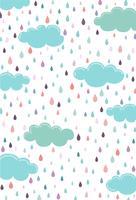 Nuvola blu Il giorno della pioggia che cade attraverso le nuvole vettore