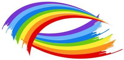Pennello arcobaleno su sfondo bianco vettore