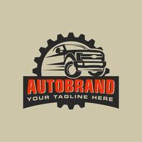 Logo di servizio di riparazione auto con distintivo, emblema, modello