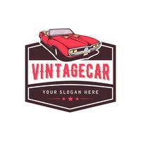 Un modello di design del logo auto classico o vintage o retrò. stile vintage vettore