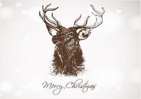 Vettore disegnato a mano di Natale dei cervi di Bokeh