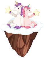 Carattere unicorno su sfondo bianco