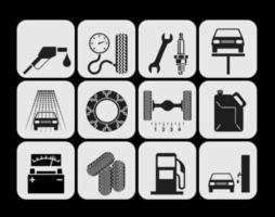 Vettori di icona di riparazione e servizio dell'automobile