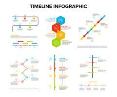 La progettazione di infographics di cronologia ha messo con stile piano, il flusso di lavoro o il diagramma trattato, il diagramma di flusso, illustrazione di vettore