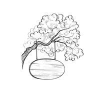 Insegna sul ramo di un albero. Doodle segno di legno. Cartello della plancia