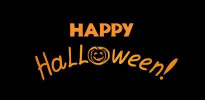 Biglietto di auguri di Halloween. Sfondo vacanza con scritte e p