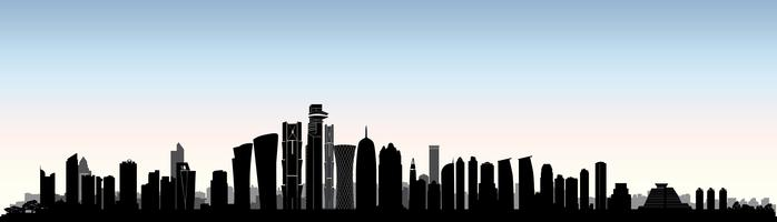 Skyline della città di Doha. Paesaggio urbano urbano arabo. Edificio del grattacielo del Qatar vettore