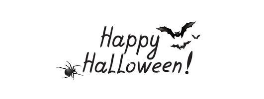 Biglietto di auguri di Halloween. Sfondo vacanza con scritte, pipistrello