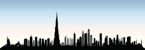 Skyline della città di Dubai. Vista urbana degli Emirati Arabi Uniti di paesaggio urbano di Emirati Arabi Uniti vettore