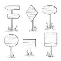 Segnale stradale e freccia di legno. Insieme dell'insegna della plancia dell'incisione retro.