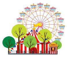 Scena del circo con tenda e ruota panoramica vettore
