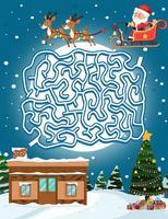 Modello di gioco del labirinto di Babbo Natale vettore