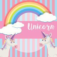 Simpatico sfondo di unicorno e arcobaleno