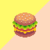 vettore di arte del pixel dell'hamburger