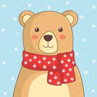 orso con il vettore sciarpa rossa